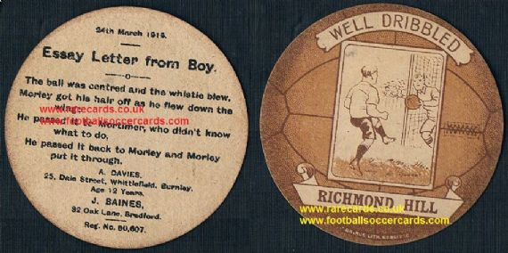 1919 Richmond Hill FC Baines football card poetry rhyme type